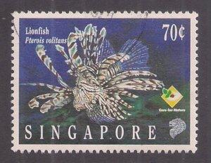 Singapore: 70c Lionfish #735 used single cats $1.40+