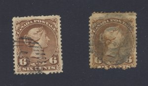 2x Canada Large Queen Used Stamps #27-6c VG/F & #27a-2c VF Guide Value = $205.00