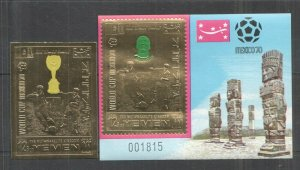 QF1637 IMPERF YEMEN GOLD WORLD CUP MEXICO 1970 FOOTBALL OVERPRINT RIVA ST+BL MNH
