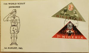 O) 1963 NIGERIA, GREEK SCOUTS SHAKING HANDS AND JAMBOREE, TRIANGLE, FDC F