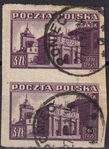 Poland #372 F-VF Used Imperf Pair CV $8.00 (Z8389)