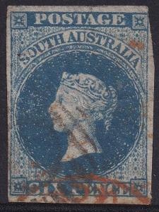 SOUTH AUSTRALIA 1855 QV 6D IMPERF USED