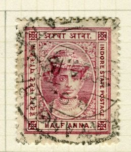 INDIA; INDORE 1904 early classic Holkar local issue used 1/2a. value