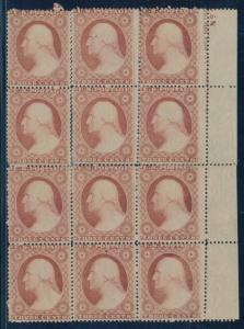 #26 FINE UNUSED BLOCK OF 12 WITH IMPRINT SEPARATIONS CV $1,090.00 HV6791