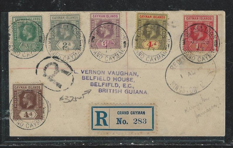 CAYMAN ISANDS (P1706B) 1913 KGV 6 STAMP FRANK REG GRAND CAYMAN TO BRITISH GUIANA