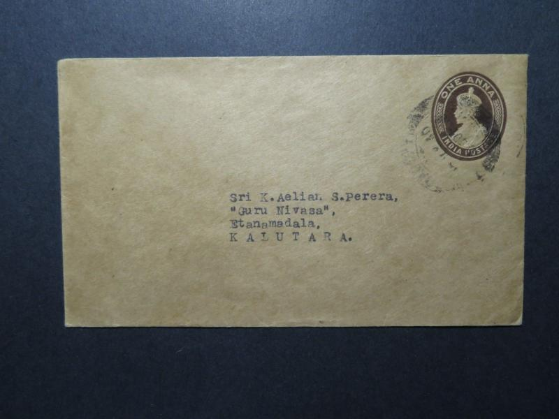 India 1940 1 Anna Stationery Cover to Kalutara - Z11694