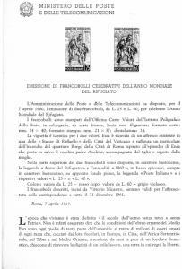 Italy 1960 World Refugee Year  Bollettini Illustrativi #B65 RARE