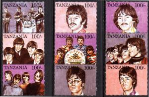 TANZANIA 1334 MH BROKEN SHEET/9 SCV $5.75 BIN $2.90 BEATLES