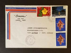 1979 Papeete Tahiti to Datteln Germany Simone Multi Franking Ad Air Mail Cover