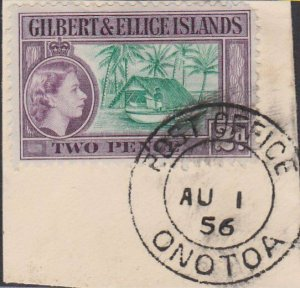 GILBERT & ELLICE IS QE on 1956 piece POST OFFICE / ONOTOA cds...............N481