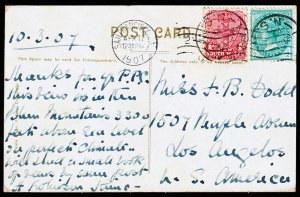 New South Wales Scott 121-123 Post Card from NSW to Los Angeles, CA (1908) F M