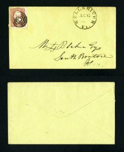 # 65 on cover from Wells River, Vermont to South Boston, Mass. dated 8-5-1860's