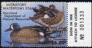 MARYLAND #16 1989 STATE DUCK STAMP BLUE WINGED TEAL by Roger Lent