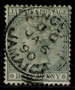 JAMAICA QV SG16a, ½d green, FINE USED. CDS