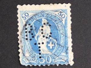 Switzerland sc#86 50f perfin BCT cv$25.00+++ used  b.c.t.