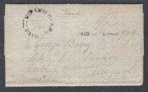 New Brunswick, 1842 Stampless SFL, Miramichi to Liverpool, Great Britain