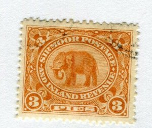 INDIAN STATES; SIRMOOR 1894 early Elephant local issue used hinged 3p. value