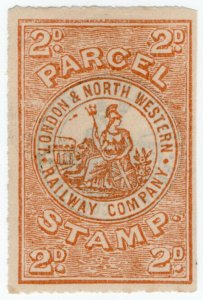 (I.B) London & North Western Railway : Parcel Stamp 2d (back overprint)