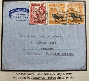 1959 Dar Es Salam Tanganyika Air Letter Cover To Belfast Northern Ireland