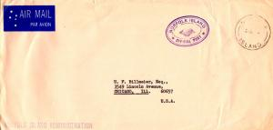 Norfolk Islands Official Free Mail c1968 Norfolk, Island Airmail to Chicago, ...