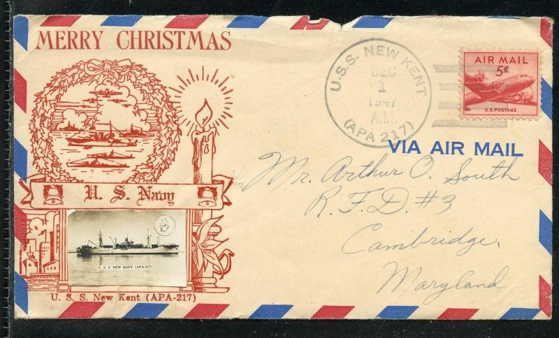 UNITED   STATES  MERRY CHRISTMAS 1947 USS NEW KENT SPECIAL COVER II  AS SHOWN