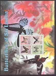 Sri Lanka 1978 Butterflies m/sheet unmounted mint SG MS 663