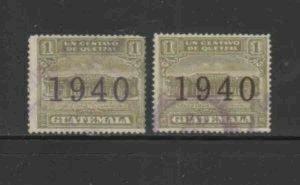 GUATEMALA #RA13-RA14 1940 POSTAL TAX F-VF USED