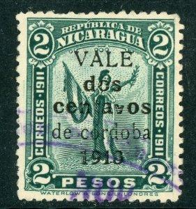 Nicaragua 1913 Liberty Gold Currency 2¢/2P Blue Green Sc 323 VFU W933