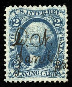 B321 U.S. Revenue Scott R11c 2c Playing Cards blue, 1865 manuscrip cancel