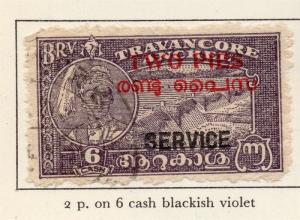 Travancore 1949-51 Early Issue Fine Used 2p. Surcharged Optd 219089