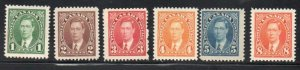 Canada Sc  231-36 1937 1st George VI  stamp set mint