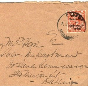IRELAND Cover GB Overprint *DYSART MULLINGAR* Fine RUBBER Westmeath 1922 IR64