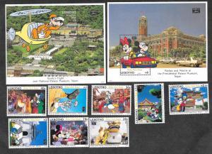 Lesotho 979-988 Mint NH MNH Souvenir Sheet & Singles Disney!
