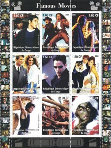 Congo 2001 Hollywood Famous Movies 9v Mint Full Sheet. (L-12)