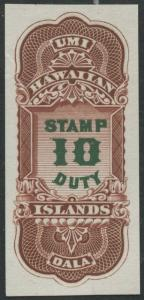 HAWAII #R5P3 $10 STAMP DUTY PLATE PROOF ON INDIA XF-SUPERB GEM HV9108