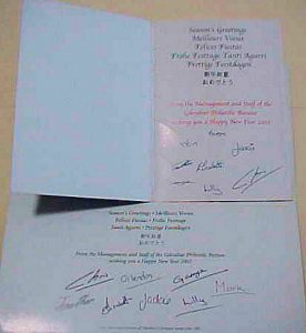 GIBRALTAR  AUTOGRAPHS OF STAFF OF PO in 2002 also 2003