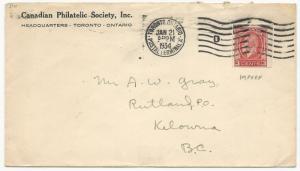 Canada Scott #207 Tied on Cover Philatelic Society January 21, 1934