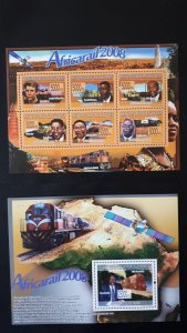 Trains and locomotives (Africa) - Guinea 2008 - Complete SS+Bl ** MNH