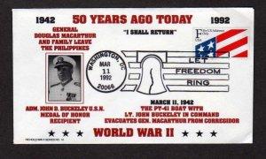 General Douglas Macarthur, John D Buckeley, WW II Stamp Cover Navy Naval