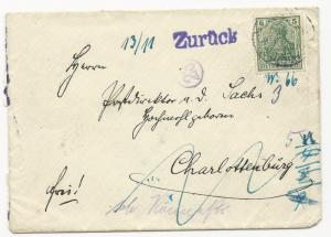 Germany Mi P307 #85b on FWD Cover w/ 7 Back Stamps Aux Markings