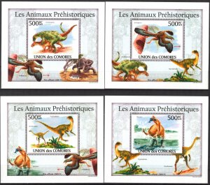 {088} Comoros 2010 Dinosaurs 4 S/S Deluxe MNH**