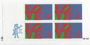 United States, 1475, Love Issue ZIP Block of 4, LL MNH