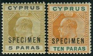 CYPRUS-1904-10 5pa Bistre Black & 10pa Orange & Green SPECIMEN OVPT