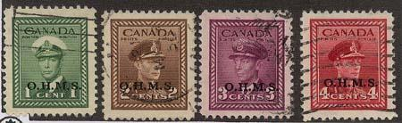 Canada - 1949 KGVI Officials Used Set #O1-O4