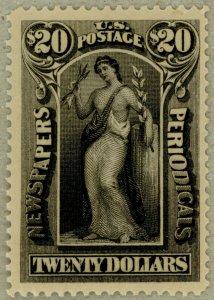 US Scott#PR123 VF-XF Jumbo OG 1895 $20 Newspaper stamp, watermarked, sound
