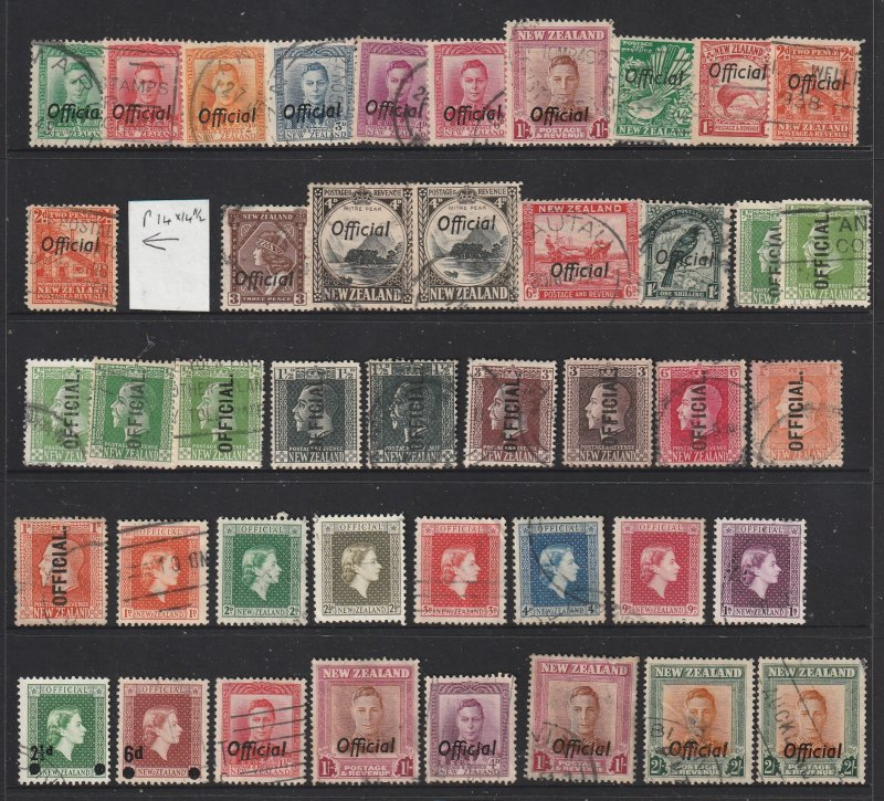 New Zealand a small lot of used Officials KGV to QE2