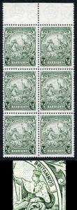 Barbados SG248 1/2d Green Perf 13.5 x 13 R2/4 Scratch across Kings Shoulder U/M
