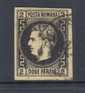 Romania Sc 29 used 1866 2pa black on yellow Prince Carol, sound & VF