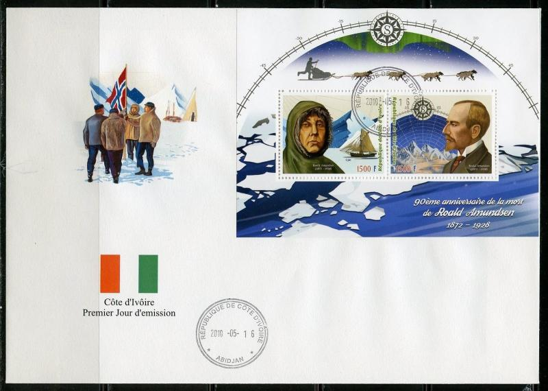 IVORY COAST 2018 90th MEMORIAL ANN OF ROALD AMUNDSEN SHEET  OF TWO  FDC