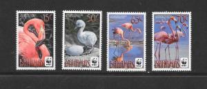 BIRDS - BAHAMAS #1355-8 FLAMINGOS WWF ISSUE  MNH